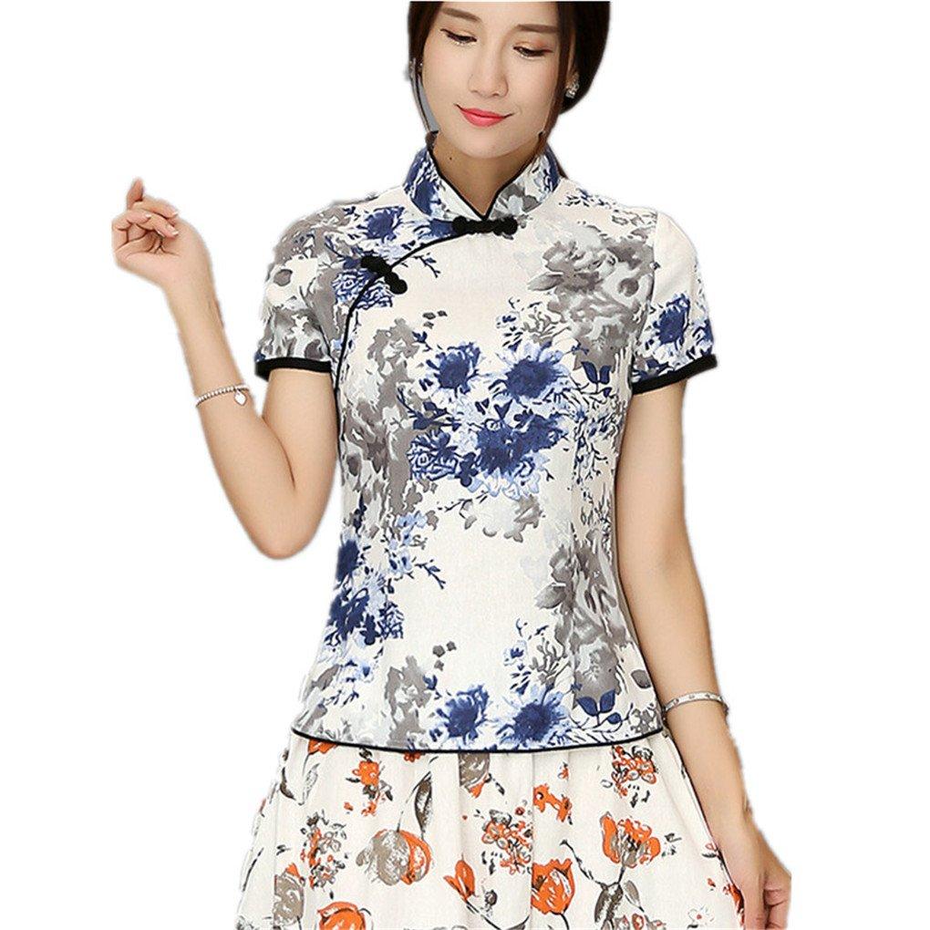 Shanghai Story Cheongsam Style Shirt Short Sleeve Qipao Top Chinese Blouse L 16B