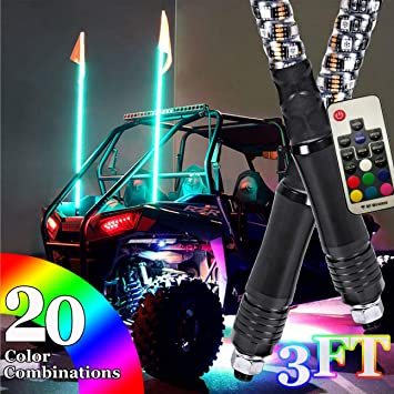 20 Colors Bluetooth Control 360/° Spiral LED Whip Lights w//Flag 21 Modes 1.2M Lighted Antenna Whips Weatherproof omotor 2PC 4FT Accessories for ATV Polaris RZR 4 Wheeler