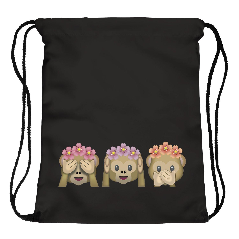 ocona© Mono Bolsa de Deporte de Flores Emoji monkeyflowers Monos Verano emoticones Smileys Bolsa de Deporte Mochila Gymsack Stringbag Inconformista Bolsa ...