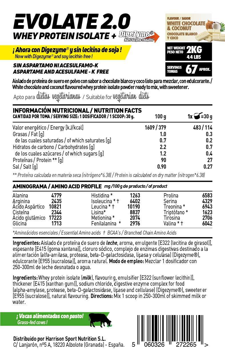 Aislado de Proteína de Suero Evolate 2.0 - Con Digezyme, Rica en BCAAs y Glutamina, Apto Vegetariano, Sin Gluten, Sin Soja, Sabor, Chocolate, 500 g