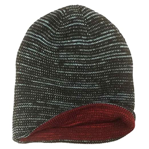 4a3bc1097ace0 Image Unavailable. Image not available for. Color  Aquarius Boys Reversible  Black Speckle Beanie Hat Stocking Cap