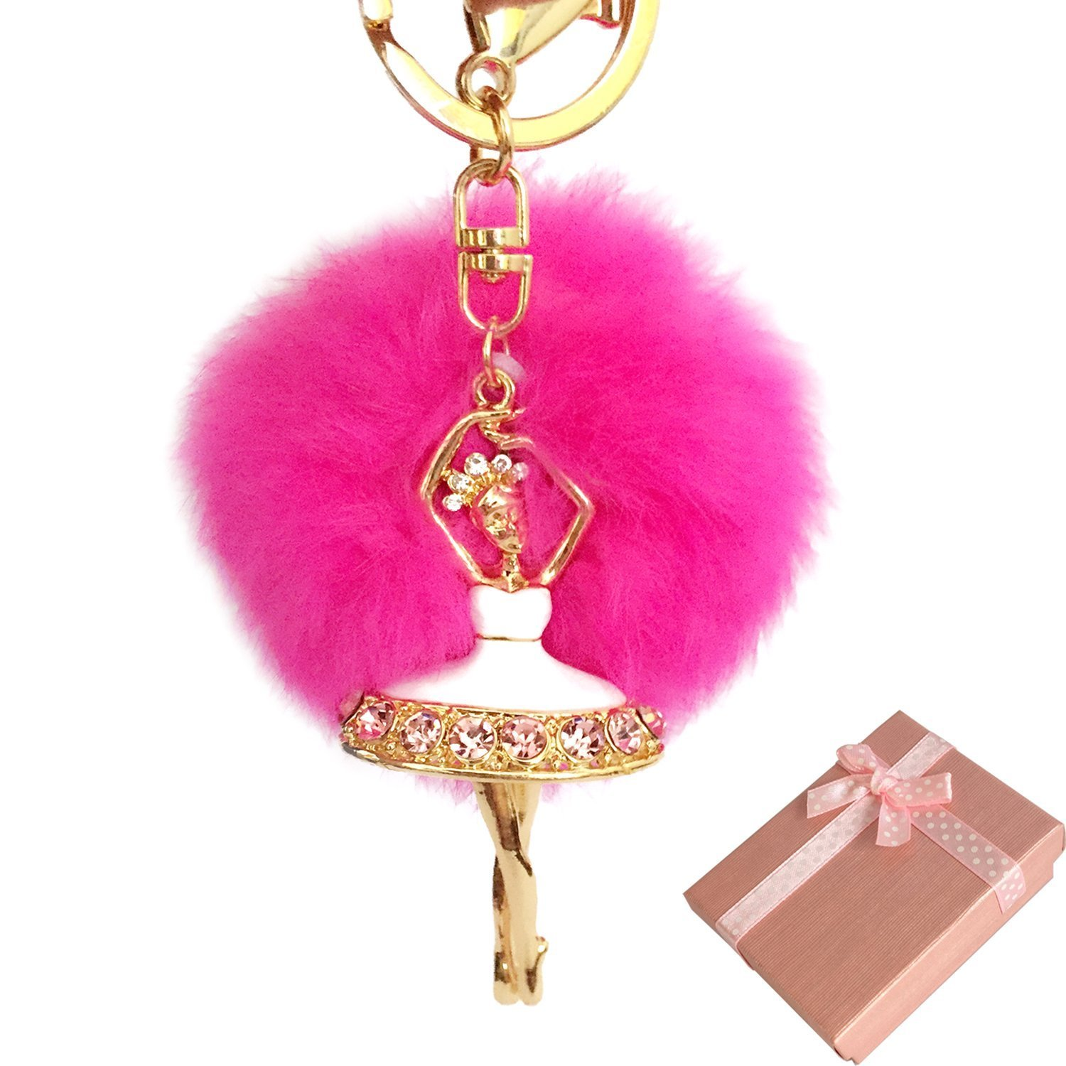 Elesa Miracle Girl Women Fur Ball Rhinestone Ballerina Keychain, Ballet Dancing Girl Handbag Accessories, Car Key Chain Rings (Hot Pink)