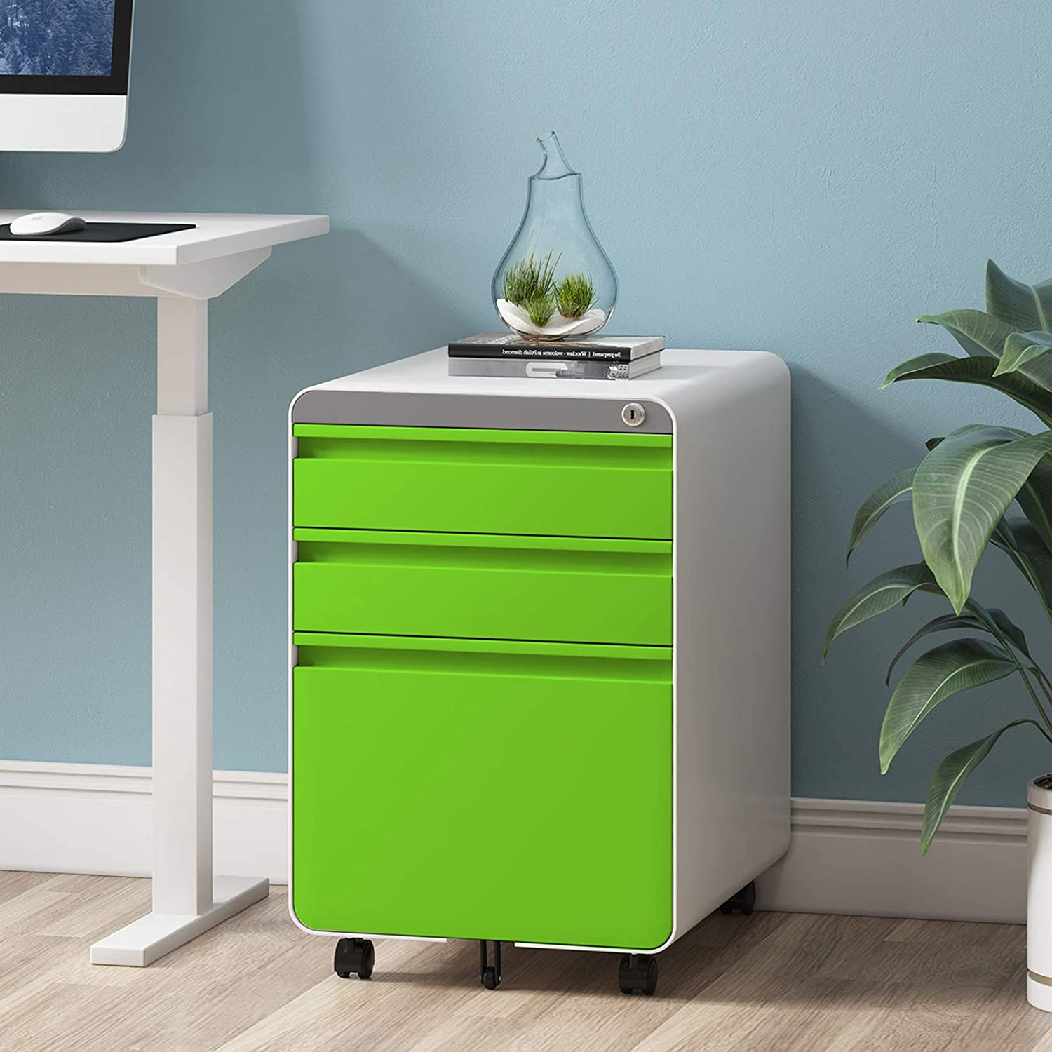 Dprodo 3 Drawers Mobile File Cabinet with Lock, Metal Filing Cabinet for Legal & Letter Size, Fully Assembled Locking File Cabinet for Home & Office,Green