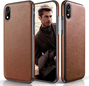 LOHASIC iPhone XR Case, Premium Leather Slim Fit Flexible Hybrid Defender Anti-Slip Soft Grip Scratch Resistant Protective Cover Soft Cases Compatible with Apple iPhone XR (2018) 6.1 inch - Brown