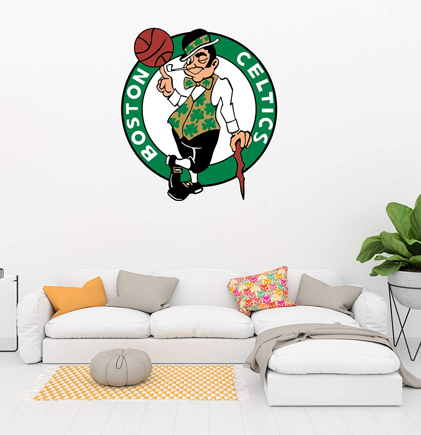 """Basketball Team Logo - Removable Wall Decal Vinyl for Home Decoration (20"""" x 22"""")"""