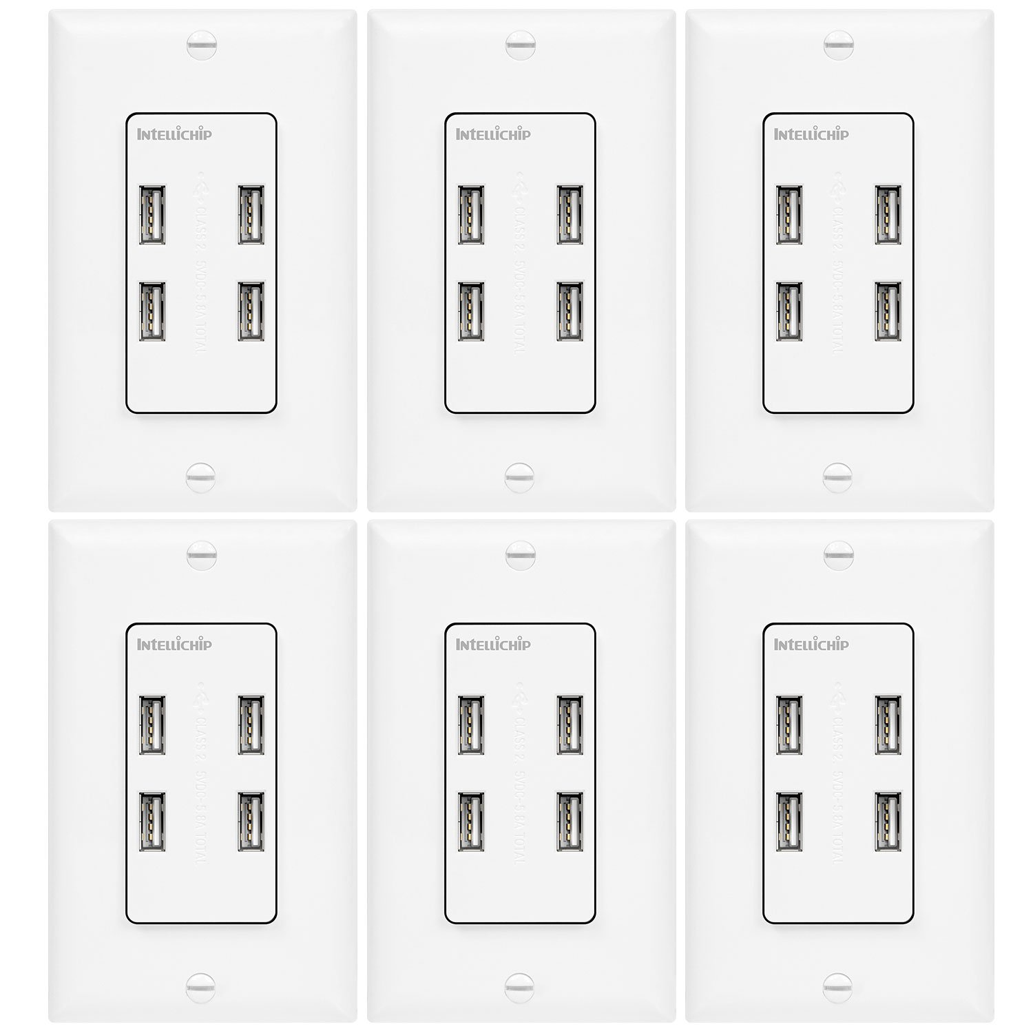 TOPGREENER 5.8A Ultra High Speed USB Quad 4-Port Wall Outlet, Compatible with iPhone XS/MAX/XR/X/8/7, Samsung Galaxy S9/S8/S7, LG Nexus, HTC 10 & More Smartphones, UL Listed, TU458A, 6 Pack by TOPGREENER