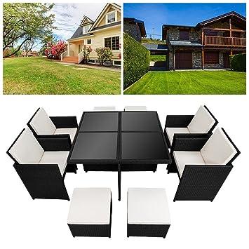 Hengda® 4+4+1 muebles de jardín Modular Ratán Mesa de ...