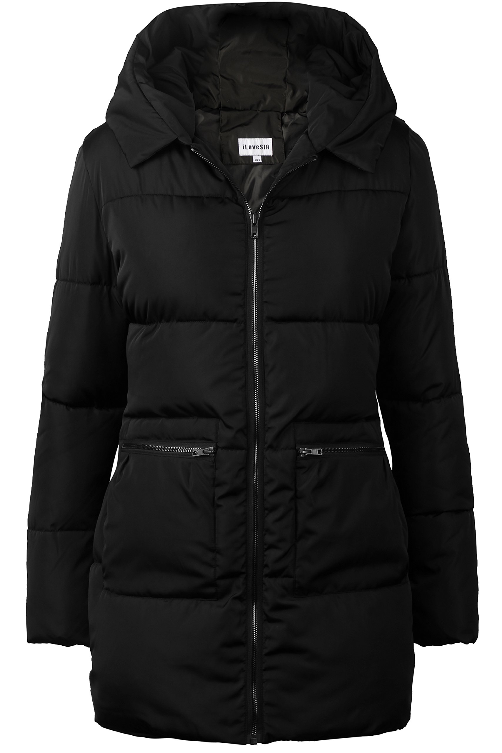 iLoveSIA Women's Down Alternative Quilted Padded Thicken Puffer Coat with Hood Black Size 08