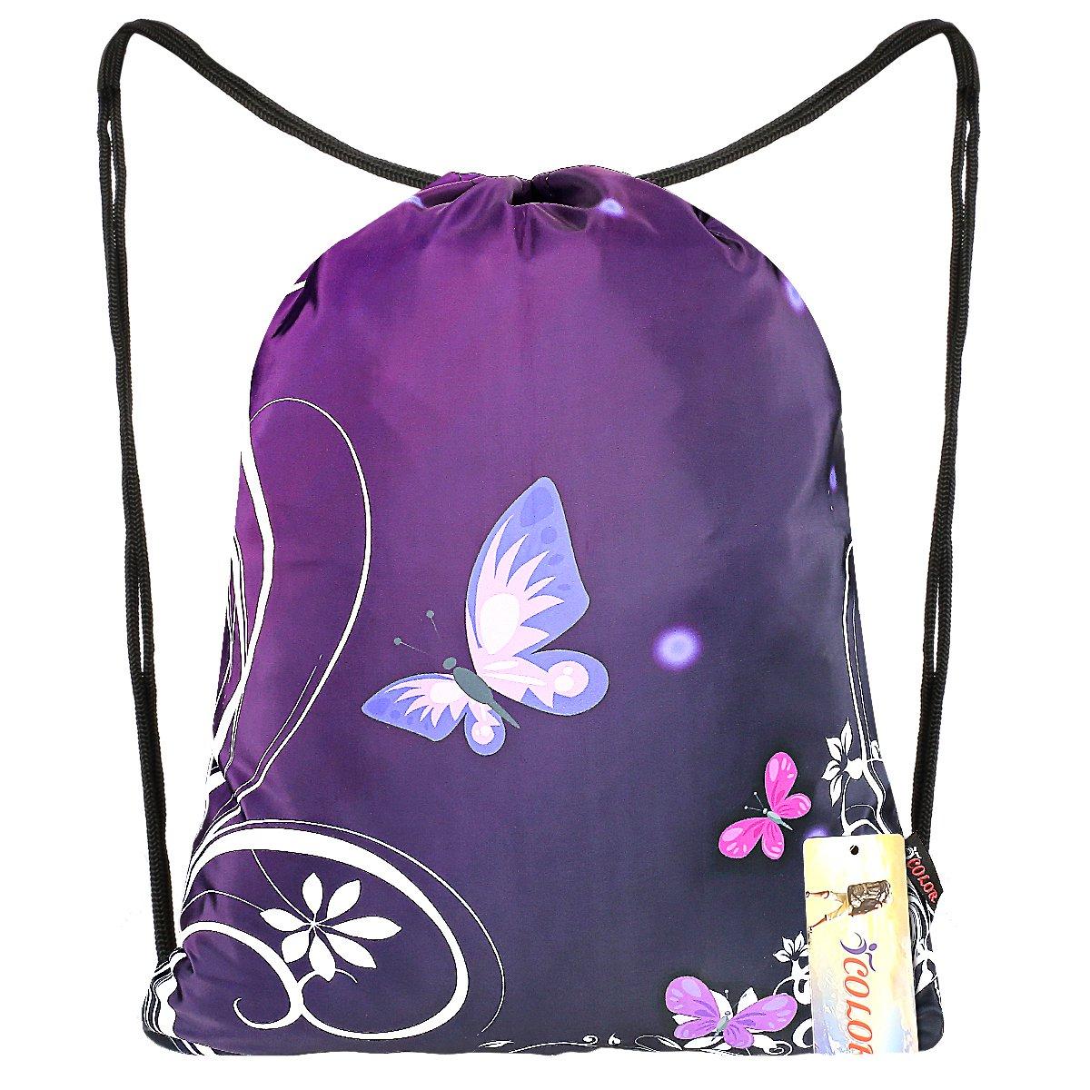 iColor Sackpack,Drawstring Backpacks,Stylish Multipurpose Girls Nylon Drawstring Bags Gym Bags ,Teen Dance Bag, Lightweight Gym Bag for Women Cycling Hiking,Team Training Gymsack (Butterfly & Flower)