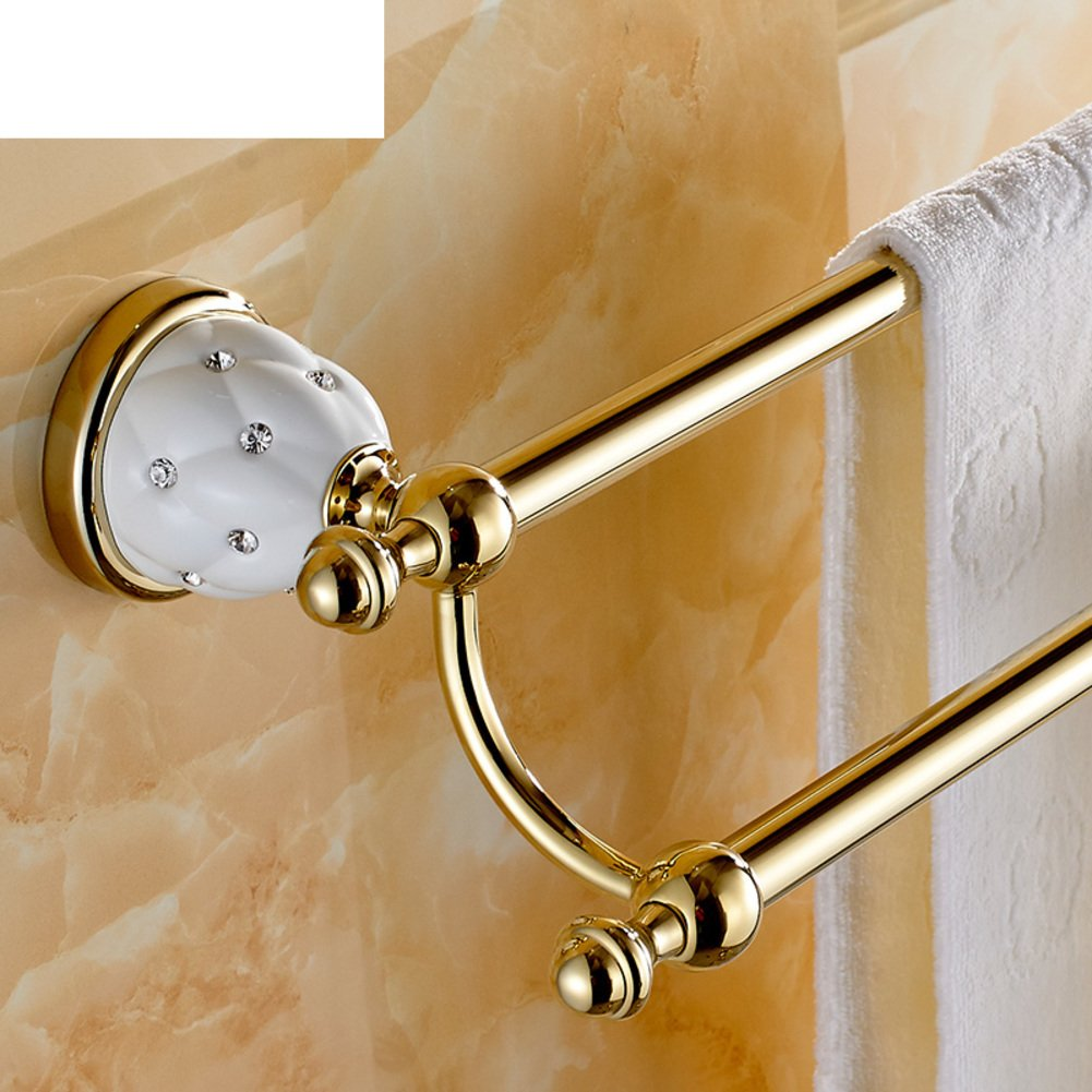 Towel rack double bar/European-style bathroom accessories/Gold-plated towel rail/Antique bathroom Towel rack-B 80%OFF