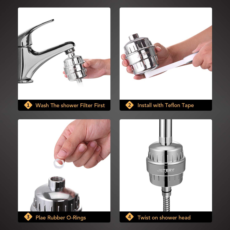 Universel Filtre fluorure Haute puissance Filtre à eau pour pomme de douche en 12 niveaux chlore impuretés et odeurs Jetery Chrome Avec 2cartouches de filtres de remplacement