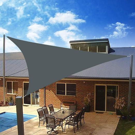 Yeahmart SHADE Toldo Vela de Sombra Triangular 3 x 3 x 3m, protección Rayos 98% UV y HDPE Transpirable para Patio, Exteriores, Jardín, Color Gris: Amazon.es: Jardín