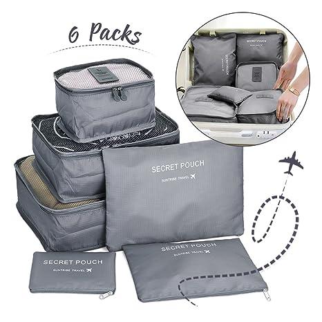 Janolia 6pcs Bolsas organizadoras de equipaje de viaje ...