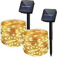 Yizhet 2 Piezas Guirnaldas Luces Exterior Solar,10M 100 LED Cadena de Luces Solares 8 Modos Guirnaldas Luminosas Solar…
