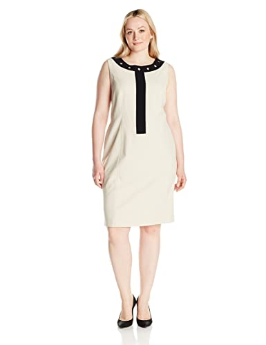 Nine West Women's Plus Size Dress W/ White Framed Neckline / Grommets (2)