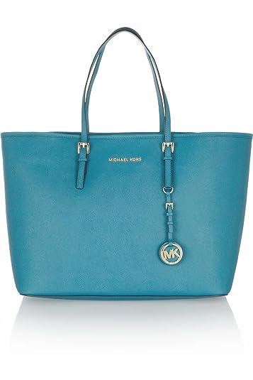 599f7513b2fb Michael Kors Jet Set Medium Travel Tote Turquoise Saffiano Leather:  Handbags: Amazon.com