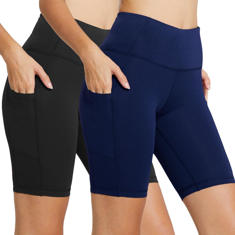 Baleaf Women's 8'' High Waist Tummy Control Workout Yoga Shorts Side Pockets 2-Pack Black/Navy Blue Size S