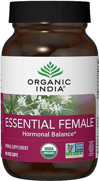 Organic India Essential Female Herbal Supplement - Hormonal Balance, Women's Formula, Reproductive Health, Adaptogen, Ayurvedic, USDA Certified Organic, Non-GMO - 90 Capsules