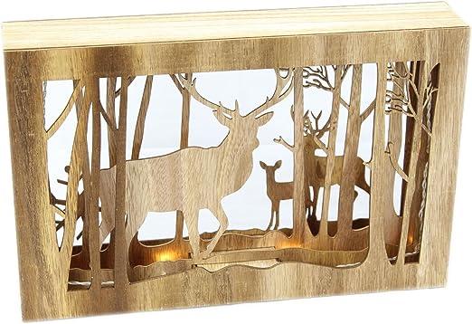 LED de madera reno bosque ciervo sombra marco de caja de luz Decoración de Navidad: Amazon.es: Hogar
