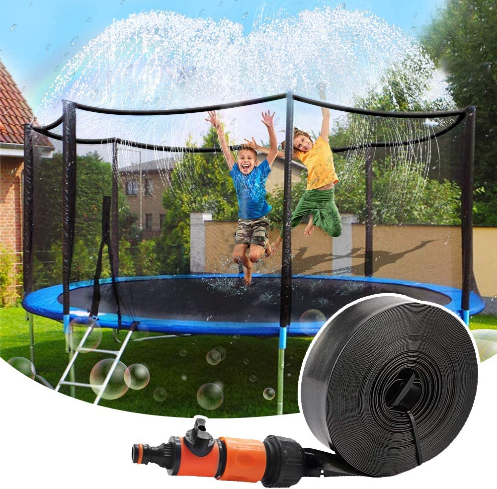 Trampoline Sprinkler, Outdoor Trampoline Water Sprinklers for Kids, Water  Park Fun Summer Toys Trampoline Accessories for 10.10ft (Black)