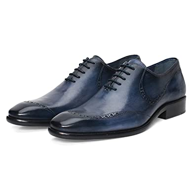 3e08df1432285a Brune Blue Genuine Leather Formal Shoes for Men/Best Oxford Leather Shoe/Hand  Made Leather Shoes/Hand Painted Leather Shoe/Extra Comfortable Leather ...