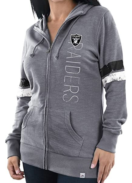 Majestic Oakland Raiders Womens Athletic Tradition Slouch Neck Full Zip Hoodie (Small)