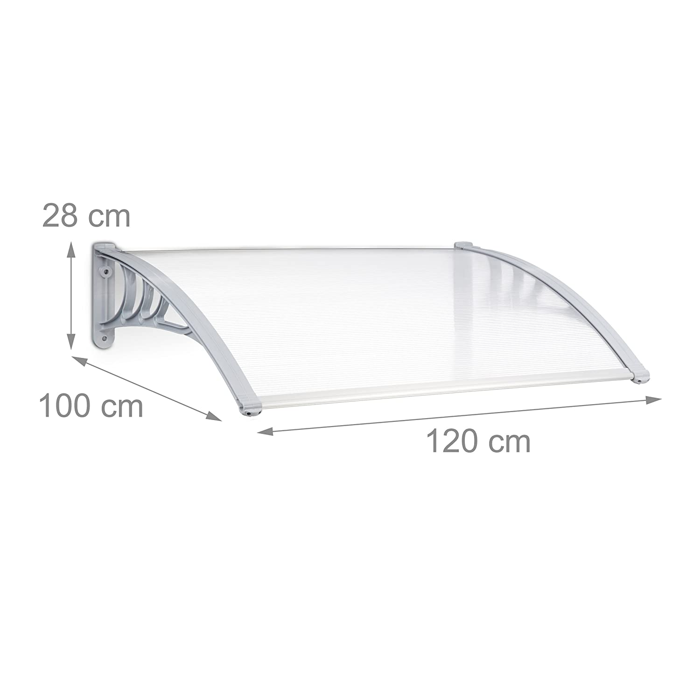 100x150x28 cm Trasparente Relaxdays 10020862/_664 Pensilina Copriporta
