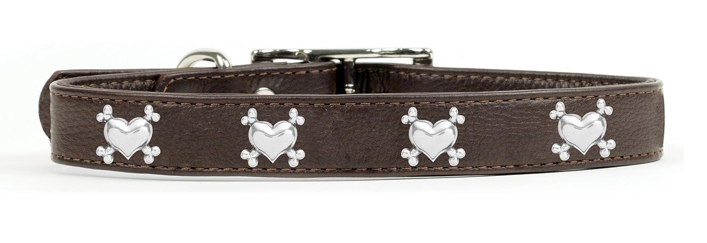 Rockin' doggie Heart Bones Rivet Leather Dog Collar, 3 4 by 16-Inch, Brown