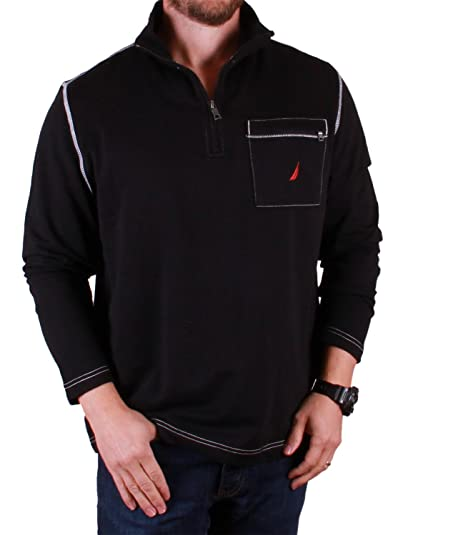 Nautica Mens' Quarter Zip Solid Cotton Pullover (Medium, Black) at ...