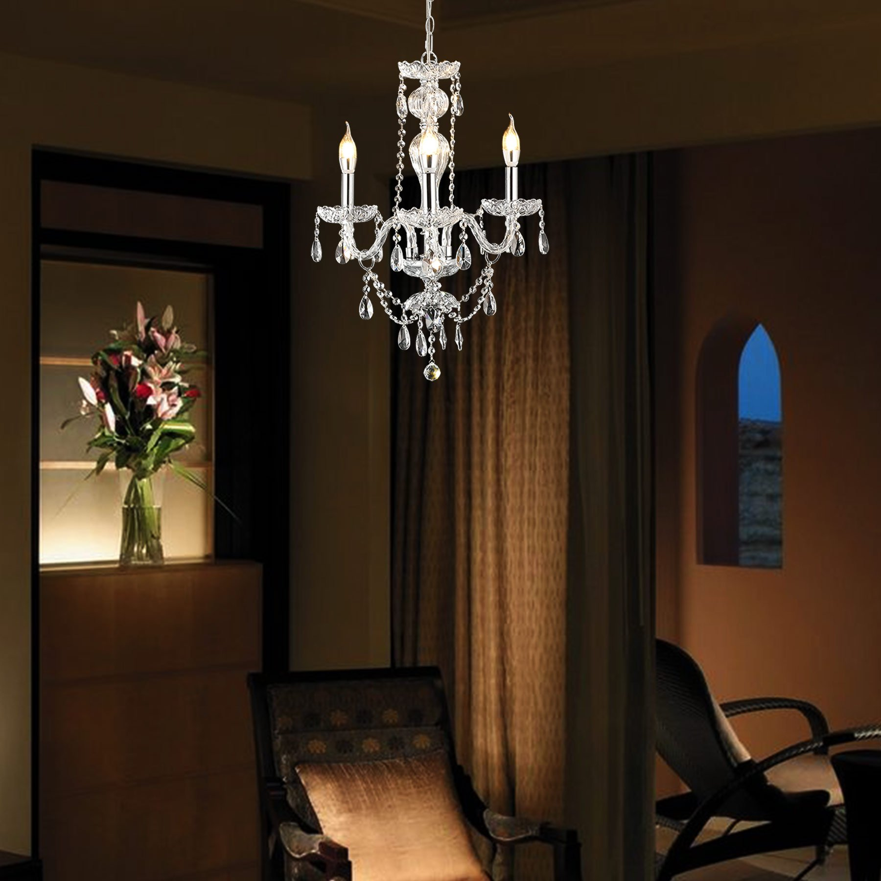 CO-Z 3-Light K9 Small Crystal Chandelier, Modern Contemporary Candle Style Ceiling Lighting Fixture with Rotatable Arm for Dining Room Kitchen Living Room Sitting Room Bedroom