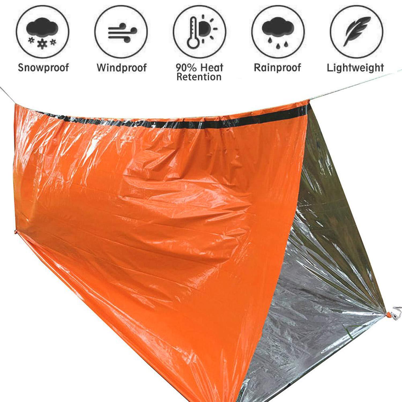 200 x 90cm Notfall Tube Zelt Survival Schlafsack Orange Outdoor Hitzeabweisend K/älteschutz Rettungszelt Rettungsdecke Camping Wandern Zubeh/ör GoMaihe 2 St/ück Biwaksack Wasserdicht Ultraleicht