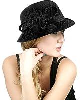 NYfashion101 Side Flip Cloche Bucket Hat w/ Woven Flower & Ribbon Accent