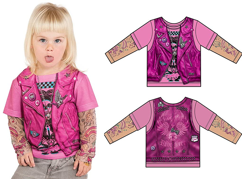 Faux Real Toddler Pink Biker Girl With Tattoo Sleeves T Shirt - 3 Sizes