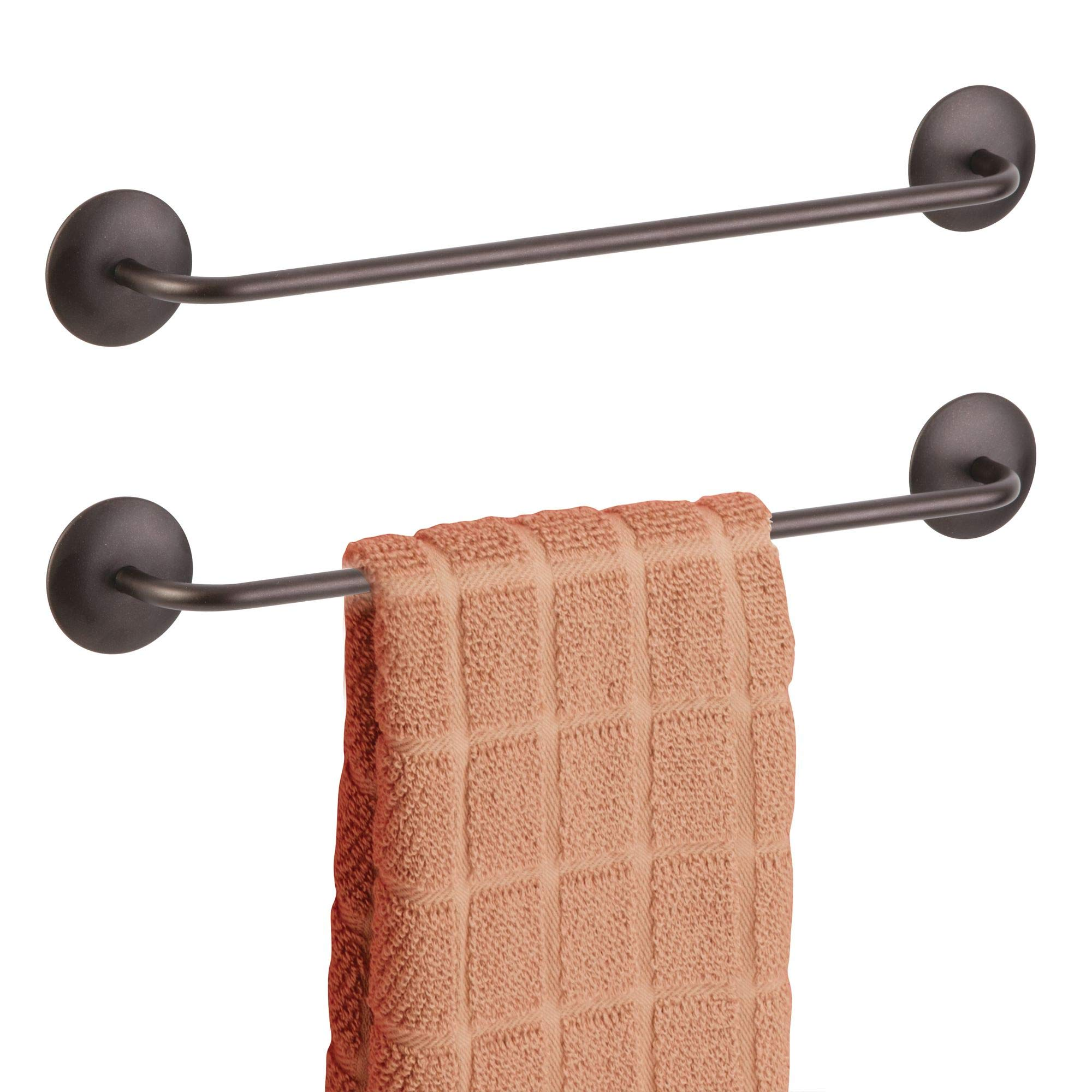 mDesign AFFIXX Peel-and-Stick Self-Adhesive Small Single Metal Wall Mounting Hanging Kitchen Cabinet Dish Drying Hand and Tea Towels Holder Bar - Pack of 2, 13'', Bronze