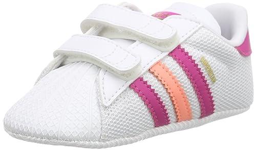 Adidas Superstar Crib, Zapatos de Primeros Pasos Unisex Bebé, Blanco/Rosa/Naranja (Ftwbla/Eqtros/Brisol), 19 EU