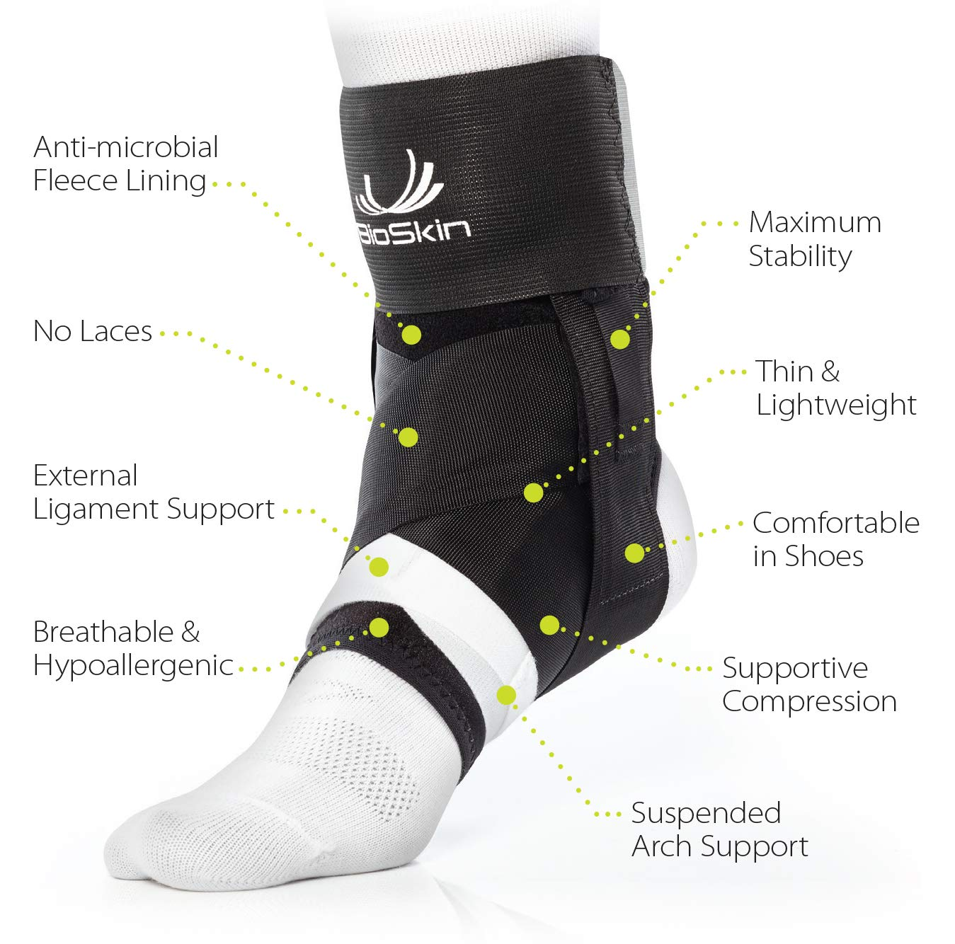 BioSkin Trilok Ankle Brace - Foot and Ankle Support for Ankle Sprains, Plantar Fasciitis, PTTD, Tendonitis and Active Ankle Stability - Lightweight, Hypo-Allergenic (XSmall) by BIOSKIN (Image #3)