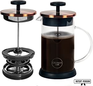 Osaka French Press Coffee and Tea Maker – Patent-Pending, Vacuum Insulated Stainless Steel Mesh Filter with Over-Extraction Prevention & Thermal Shock Proof Glass, Large 8 Cup (1 Liter,34oz) (Gold)