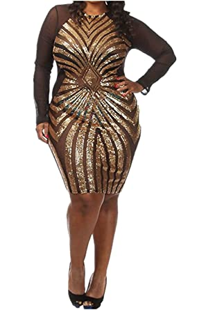 VIVOSKY Womens Plus-Size Dress Diamond Pattern Gauze Sequined Slim Bodycon Cocktail Dress