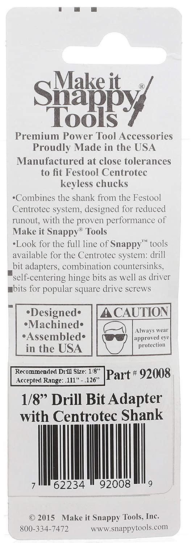 Fits Festool Centrotec Chucks #92008 Snappy Tools 1//8 Inch Drill Bit Adapter