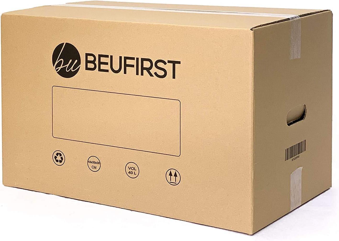 Pack de 10 Cajas Cartón Mudanza con Asas (440x300x300 mm) Alto Gramaje en canal simple Reforzado, con cartón ecológico, para Transporte o Almacenaje y Reutilizables: Amazon.es: Oficina y papelería