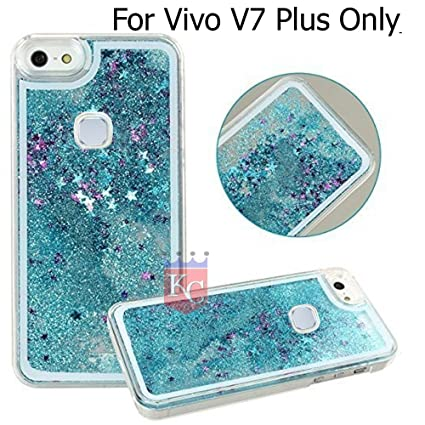 new arrival 7c675 c1237 KC Liquid Flowing 3D Bling Glitter Star Case Transparent Soft Back Cover  for Vivo V7 Plus (Blue)