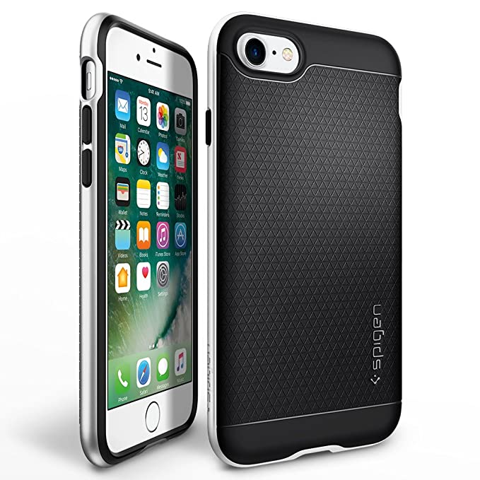 half off 374df 940d9 Spigen Neo Hybrid iPhone 7 Case with Flexible Inner Protection and  Reinforced Hard Bumper Frame for iPhone 7 2016 - Satin Silver