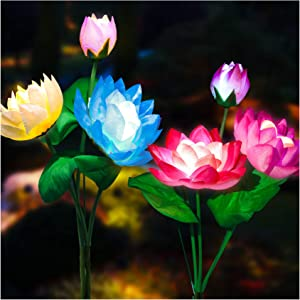 TONULAX Solar Garden Lights, 2021 Upgraded Solar Lotus Flower Lights, Solar Lights Outdoor for Garden, Patio, Yard Decoration, 7 Color Changing Solar Decorative Lights, Larger Solar Panel(2 Pack))
