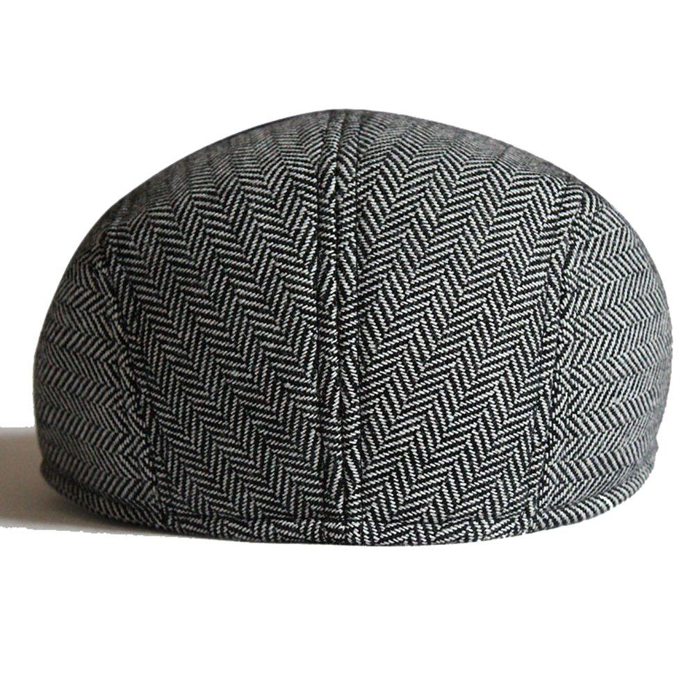 Opromo Mens Herringbone Wool Tweed Duckbill Cabbie Ivy Newsboy Cap Scally Hat