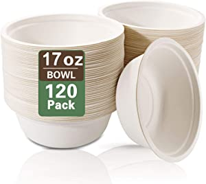 Nervure 120PCS Biodegradable Paper Bowls-17OZ Compostable Bowls Heavy Duty Nature-Made by 100% Sugar Cane Fibers,Microwave Hot Food Safe