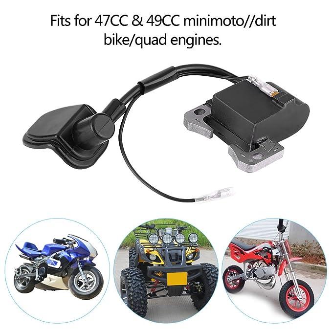 Qiilu Bobina de encendido para Minimoto ATV Dirt Bike Quad 49CC 47CC