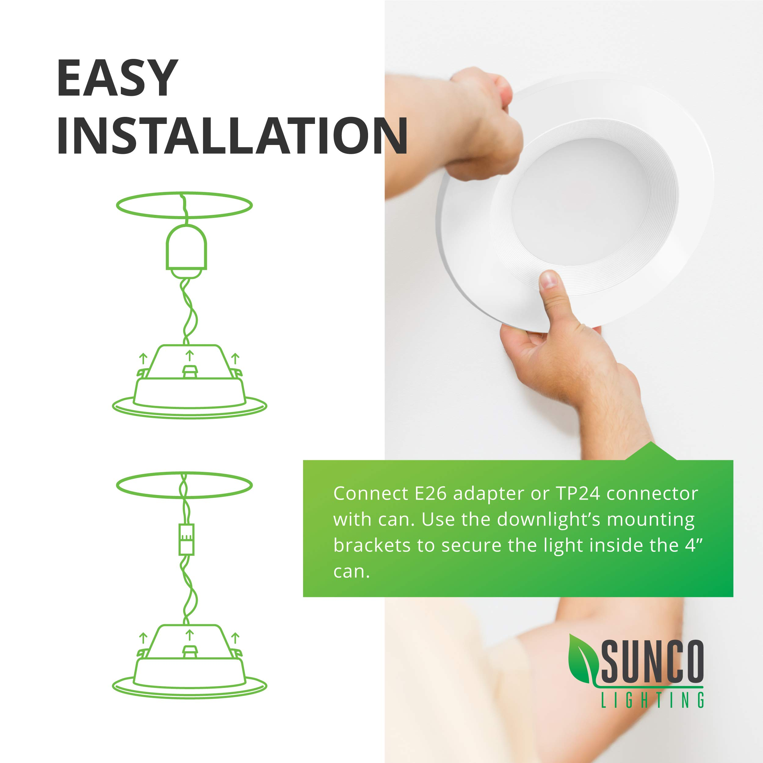 Sunco Lighting 10 Pack 4 Inch Baffle Recessed Retrofit Kit Dimmable LED Light, 11W (40W Replacement), 5000K Kelvin Daylight, Quick/Easy Can Install, 660 Lumen, Wet Rated by Sunco Lighting (Image #6)