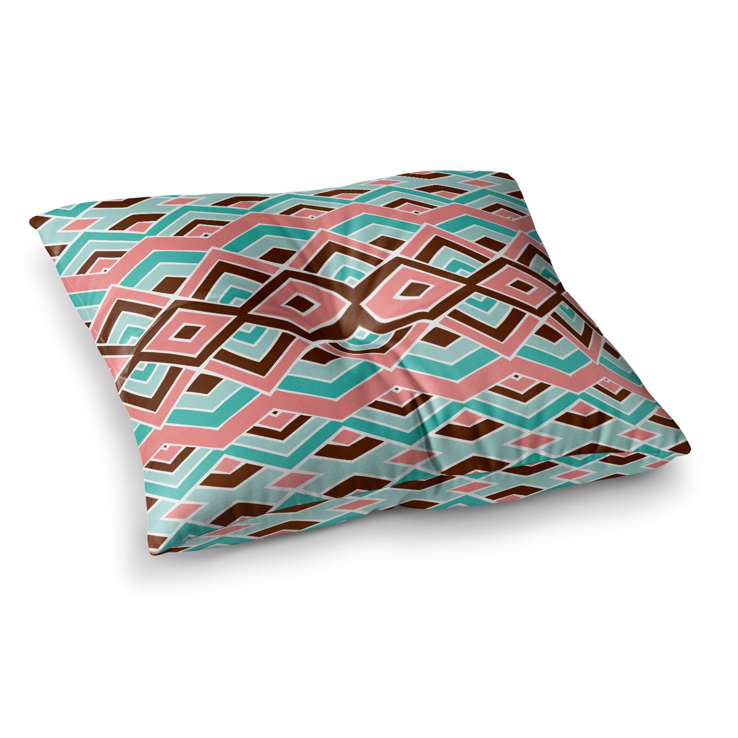 Kess InHouse Pom Graphic Design Eclectic Peach Teal 26 x 26 Square Floor Pillow