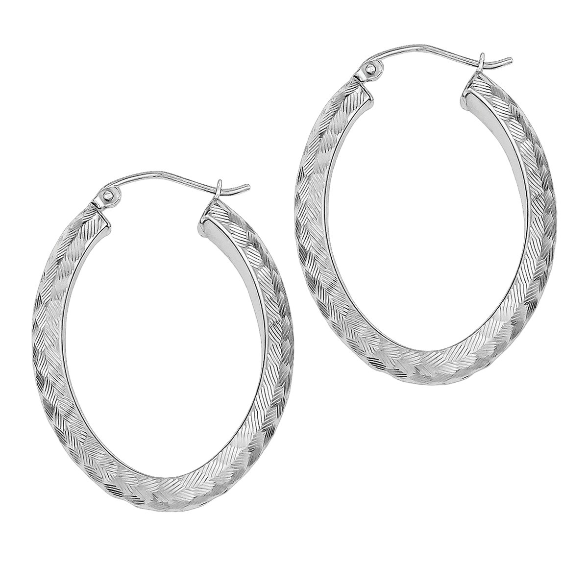 Diamond Cut Textured Earrings Sterling Silver Rhodium Plated Small Oval Hoop
