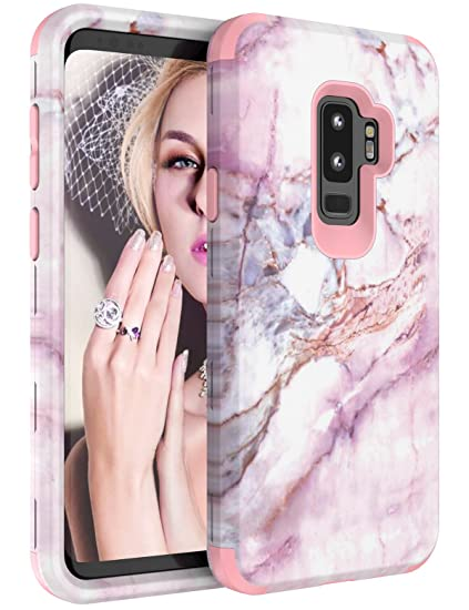 newest 4138f 49db9 Galaxy S9 Plus Case, S9 Plus Marble Case for Women Girls, Tobomoco  Tri-Layer Slim Soft Flexible Silicone and Hard PC Shockproof Cover for  Samsung ...